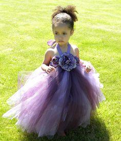 Flower Girl Tutu Dress - Purple - Plum Princess - 12 Month to 2 Toddler Girl
