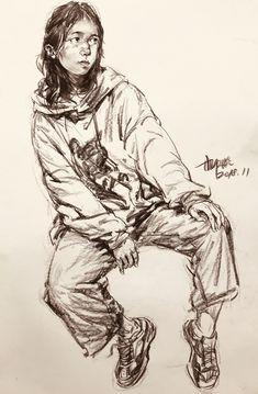 portrait - Famous Last Words Human Figure Sketches, Figure Sketching, Figure Drawing, Sketchbook Drawings, Art Sketches, My Drawings, Pinturas Color Pastel, Monochromatic Art, Comic Art Girls
