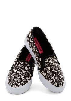 Betsey Johnson Skull Me Anytime Sneaker by Betsey Johnson - Black, White, Casual, Better, Low, Woven, Novelty Print, Halloween, Urban, Skull...