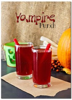 Vampire Punch Halloween Drink: Ingredients Per glass: 1/2 cup V8 Splash- Acai Berry flavor 2 ounces grenadine 1/2 cup club soda 1 licorice whip for the straw