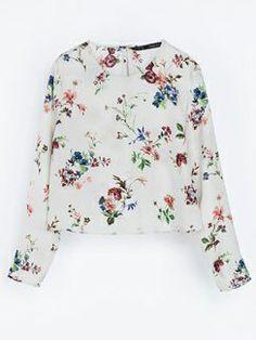 White Long Sleeve Floral Crop Blouse - Sheinside.com