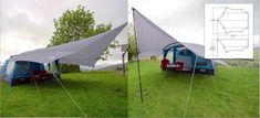 The Vango Family Shelter is a huge tarp that you can put over the front of your tent to protect help shelter your family from the rain and still enjoy the outdoors. Camping Tarp, Campsite, Large Tarps, Tent Weights, Tarp Shelters, Tent Awning, Motorcycle Camping, Outside Living, Camping