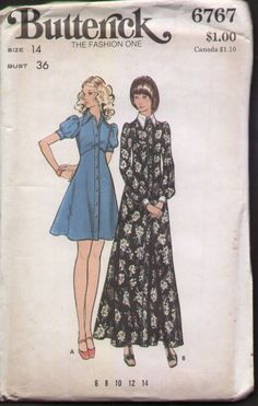 Butterick 6767 Vintage 1970s Mini or Maxi Dress Sewing Pattern B36