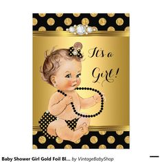 Baby Shower Girl Gold Foil Black Pearls Brunette 5x7 Paper Invitation Card