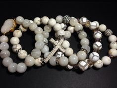 """""""Scandal"""" White Bracelet Set - white moonstone, white turquoise, and agate gemstones.   Inspired by Olivia Pope's love of creams and whites."""