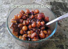 Garbanzos en dulce de Guatemala Guatemalan Recipes, Guatemalan Food, American Food, American Recipes, Dessert Recipes, Desserts, Tapas, Good Food, Goodies