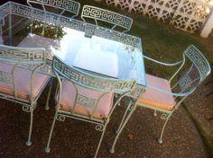 REDUCED PRICE Amazing Vintage Greek Key Patio by IconicInteriors, $1725.00 Vintage Outdoor Furniture, Vintage Patio, Vintage Metal, Vintage Items, Large Pots, Greek Key, Exterior, Amazing, Fun