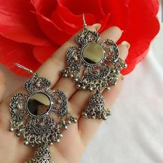Can Silver Rings Be Resized Info: 5593205014 Indian Jewelry Earrings, Jewelry Design Earrings, Silver Jewellery Indian, Ear Jewelry, Silver Jewelry, Silver Earrings, Silver Necklaces, Silver Ring, Silver Jhumkas