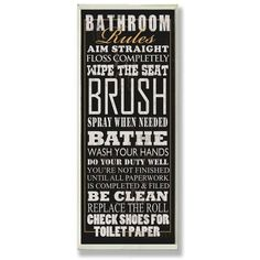 'Bathroom Rules Tall Rectangle' Framed Textual Art On Wood ($32) ❤ liked on Polyvore featuring home, home decor, wall art, wooden home accessories, wood wall art, wooden wall art, framed wall art and rectangular wall art