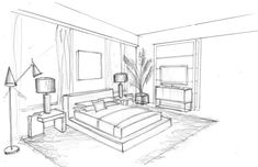 Home Decorators Collection Blinds Drawing Interior, Interior Design Sketches, Online Architecture, Interior Architecture, Bedroom Drawing, House Colouring Pages, Apartment View, Decoration, House Design