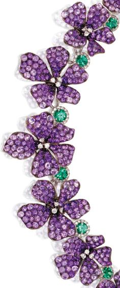 Amethyst, diamond, and emerald violet Necklace <3