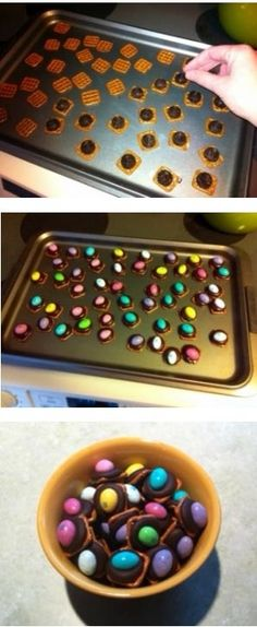 Fun, easy Easter recipe to make with kids - chocolate covered pretzels with colorful Ms or peanut butter eggs on top! http://www.pinterestbest.net/Red-Lobster-Gift-Card