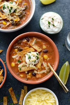 Crock-Pot Chicken Tortilla Soup: Chicken Tortilla Soup never got easier AND HEALTHIER! Throw everything in your crock-pot and you've got dinner ready before you know it!