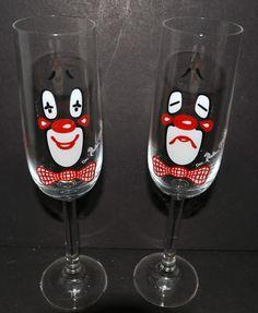 VINTAGE WEST GERMAN RITZENHOFF CRYSTAL CLOWN GLASSES