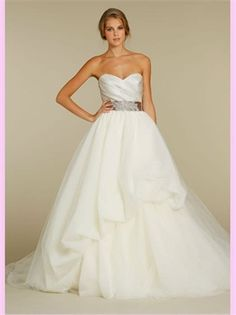 Ball Sweetheart Beading Tulle 2013 Wedding Dresses and lovely belts are a trend right now, too. #Weddings #WeddingAttire