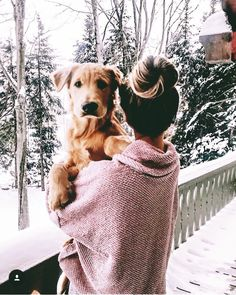 Messy bun and oversized sweater plus this golden retriever make for the perfect . Messy bun and oversized sweater plus this golden retriever make for the perfect winter day