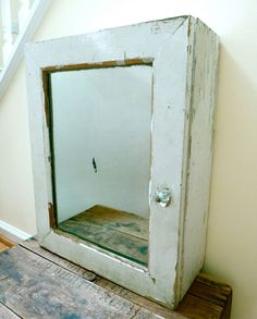Distressed Medicine Cabinet With Mirror And Glass Knob   Vintage Storage  Cabinet.
