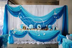sea wedding backdrop Blue Wedding Decorations, Backdrop Decorations, Baby Shower Decorations, Party Kulissen, Frozen Bday Party, Sweet 16 Birthday, Backdrops For Parties, Holidays And Events, Event Decor