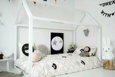 House bed + fun kids bedding