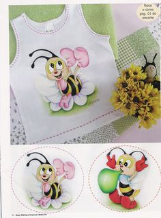 Fotos: Google+ T Shirt Painting, Fabric Painting, Painting For Kids, Art For Kids, Pinterest Pinturas, Tole Painting Patterns, Bee Cards, Rock Decor, Painted Clothes