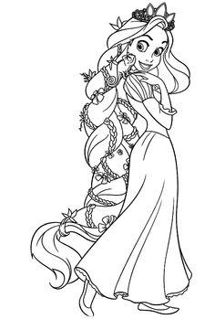rapunzel flower hair pencil sketch full body - Google Search