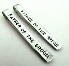 Dad Gifts -- Father of the Bride and Groom Personalized Tie Clips (set of 2) - i love these. such a sweet little gift.