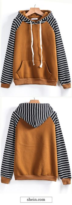 Contrast raglan sleeve hooded sweatshirt collect.