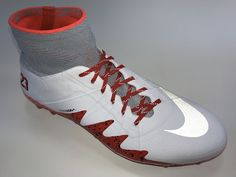 SR4U Reflective Red Soccer Laces on Nike Hypervenom Phantom 2 NJR