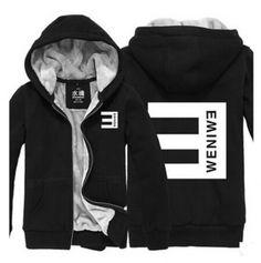 Eminem zip up hoodies for men hip hop thick fleece hooded sweatshirts Black  Hooded Sweatshirt 0992639b85c