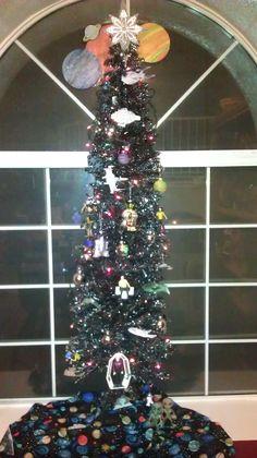 Geek Christmas Tree (all the ornaments are Star Trek, Star Wars & Aliens theme)