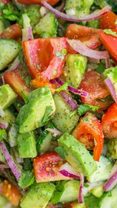 Cucumber Tomato Avocado Salad ~ with a lemon dressing and fresh cilantro... This salad recipe is a keeper! Easy, Excellent Salad