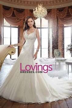 2016 Organza Straps A Line Wedding Dresses Pleated Bodice With Applique
