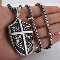 Punk Cross Shield Silver 316 L Stainless Steel Pendant Necklace Boys Men's Box Chain