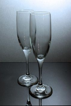 Champagne Flutes Set of 2  Vintage Clear by MountainAireVintage, $15.00