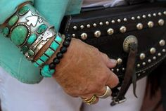 Chasing Santa Fe - Turquoise requires brown leather to really shine! So I'd do a brown leather purse. But I love this jewelry. <3