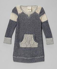 Another great find on #zulily! Navy Lace Sweatshirt Dress - Toddler & Girls #zulilyfinds