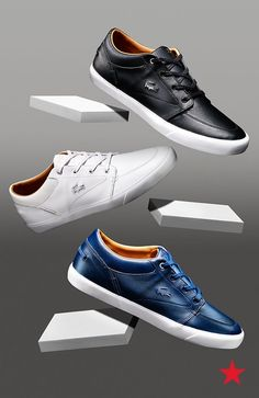 Guys, a pair of solid-colored casual sneakers needs to be on your shopping list, like now! They're great for the weekend, but you can slip them on with a slim-fit suit for a corporate cool look, too! Lacoste, for the win!