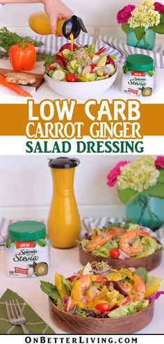 Love that carrot ginger salad dressing from your favorite sushi place? Here's a low carb version that's just as tasty but without added sugar. Get the recipe! Healthy Potato Recipes, Healthy Dinner Recipes, Vegetarian Recipes, Carrot Ginger Dressing, Carrot And Ginger, Low Calorie Dinners, Low Calorie Recipes, Ginger Salad Dressings, Fast Metabolism Diet