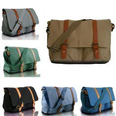266e305daa1 Mens Messenger Satchel Shoulder Canvas Leather School Work Laptop Tote Bag  Retro… Laptop Tote Bag