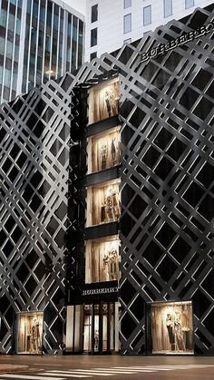 Introducing the new chicago flagship michigan avenue burberry store, shop front design, store design Retail Architecture, Architecture Design, Shop Front Design, Store Design, Facade Design, Exterior Design, Burberry Store, Retail Facade, Terrazo