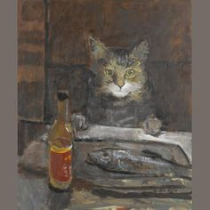 Bonhams Auctioneers : Ruskin Spear R.A. (1911-1990) Cat at a table 61 x 51 cm. (24 x 20 in.)