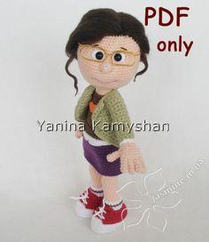 Girl in glasses crochet doll amigurumi pdf by jasminetoys on Etsy
