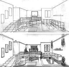 This sequence of drawings shows how complex furniture in the living room were 'crated' (drawn inside boxes) before details and curves were added in.
