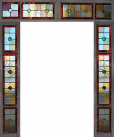 Victorian stained glass window and transom circa 1900 (80.5x66 inches)