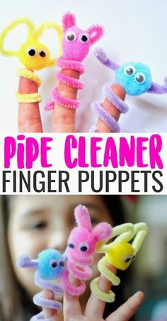 Cleaner Finger Puppets Pipe Cleaner Finger Puppets are an easy, mess-free kids craft and boredom buster perfect for rainy days!Pipe Cleaner Finger Puppets are an easy, mess-free kids craft and boredom buster perfect for rainy days! Pipe Cleaner Crafts, Summer Crafts For Kids, Crafts For Rainy Days, Simple Crafts For Kids, Arts And Crafts For Kids Easy, Camping Crafts, Crafts For Camp, Craft Activities For Kids, Summer Activities