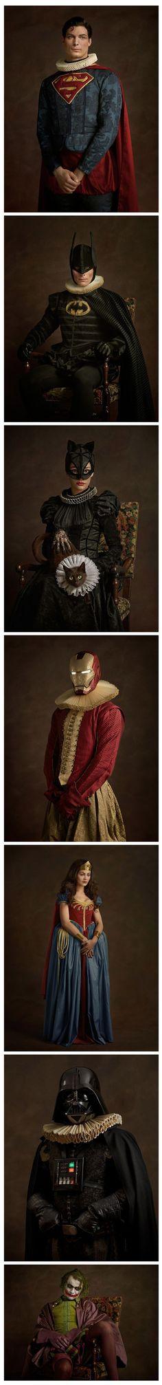 Superhéroes y villanos en cuadros clásicos