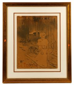 """Henri de Toulouse Lautrec (French, 1864-1901), """"Le Tocsin (La Chatelaine ou le Tocsin)""""-1895 for """"La Depeche"""", lithograph in colors, second state of three, monogrammed with date within matrix lower left, publication name at top """"LA DEPECHE"""", titled lower left corner in red """"Le Tocsin"""", lower right corner with """"IMP CASSAN FILS TOULOUSE"""". Figural print depicting a woman in bonnet and long dress walking at night with a lone dog walking behind her on a path, crescent moon overhead, tree trunks…"""