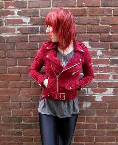 UNIF Sangre Moto Jacket in Red Velvet, available at shopblacksalt.com, $148