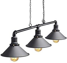Industrial Suspended Ceiling Pendant 3 Lamp Black Metal Water Pipe Vintage Light Fitting M0053: Amazon.co.uk: Lighting