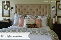 DIY Tufted Headboard from houseontheway.com. Headboard made from plywood, foam, batting and fabric. Tufted with fabric covered buttons.